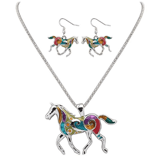 horse earring and necklace